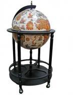 Глобус бар напольный Гранд Презент 42003W-В на 4 ножках 42 см Бежевый/Черный (6098)