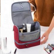 Складной дорожный органайзер для косметики и средств личной гигиены компактная сумка косметичка (046707252) Красный