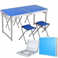 Набір меблів для пікніка Easy Camping стіл посилений розкладний і 4 стільці Синiй