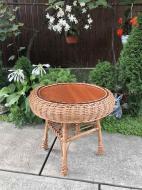 Стіл журнальний дерев'яний Woody Гриб для саду круглий Світле дерево