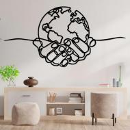 Панно Born for Art Планета в руках 50х26 см Черный (PAN1268)