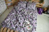 Простынь Полуторная Brettani LOVE 150х220 см Бязь Фиолетовый 682