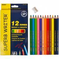 Олівці кольорові Marco Jumbo Superb Writer зі стругачкою 12 кольорів (4400-12CB)