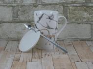 """Кружка с крышкой и ложкой """"Мрамор"""" 375 мл Белый"""