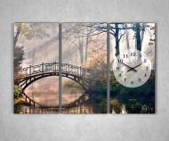 Картина модульная Часы настенные, Природа, Лес, Мост над озером, 3 модуля, 90х60 см, фотопечать на холсте
