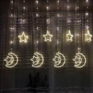Новорічна весільна світлодіодна гірлянда шторка Місяць і зірки 3D з неоновою стрічкою 2.5 м (білий)