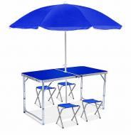 Стол раскладной для пикника и рыбалки с 4 стульями и зонт Синий