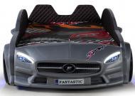 Детская кровать-машина Mercedes 190х90 см с подсветкой и кожаным салоном пластик Серый
