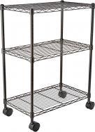 Стеллаж тележка металлическая на колесиках 3 полки 60х35х80 см
