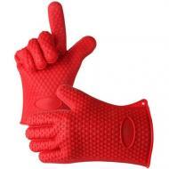 Термостойкие силиконовые перчатки Нot hands для кухни Красный (1008594-Red)