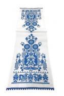 Рушник обрядовый льняной Счастливая Судьба Галерея Льна 42х214 см Белый с синей вышивкой и кружевом (85-24/345/1370/76)