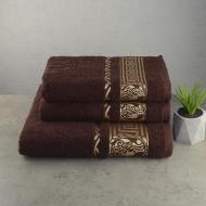 Набор полотенец для ванной GM Textile Caesar 3 шт Коричневый