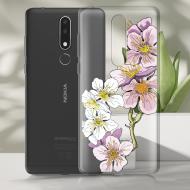 Чохол BoxFace Nokia 3.1 Plus Cherry Blossom Чорний силікон зі склом (36116-cc4-37737)