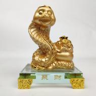 Змея на стеклянной подставке 10 см Золотой (C0286)