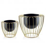 Кашпо на подставках Flora Swen Black & Gold металлические 2 шт (30183)
