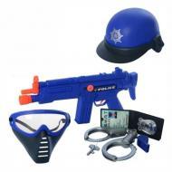 Набір поліцейського Yue Qianc c маскою каскою і автоматом Синій (57368)