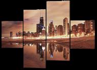 Картина модульная Interno Город коричневый фон166x114см