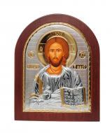 Икона Спасителя Иисус арочной формы 14,7х18 см Серебряный