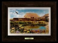 Картина декоративная металл/дерево Украина Дом с озером 280х380 мм Коричневый (уккм01к20х30)