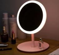 Настільне дзеркало з LED підсвічуванням для макіяжу кругле
