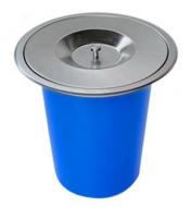 Ведро мусорное круглое встраиваемое в столешницу  из нержавеющей стали (8479)