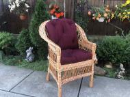 Крісло дерев'яне Woody Стандарт з подушкою садове Світле дерево/Бордовий