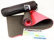 Килимок для йоги EasyFit TPE+TC 183х61 см Чорний/Червоний (EF-TPE6BRC)