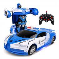 Машинка трансформер Lamborghini Police Robot Car Size 18 Синий