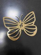 Декор на тарілку Manific Decor Метелик з буквою із пластику 10х7,5 см 20 шт. Золотий (15.06)