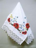 Рушник свадебный льняной Галерея льна Маки 35х90 см Белый с разноцветной вышивкой и кружевом (85-04/120/01к/76)