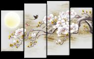 Модульная картина Interno Искусственный холст Сакура и птица 114х69см (Z3033M)