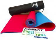 Килимок для йоги EasyFit TPE+TC 183х61 см Червоний/Блакитний (EF-TPE6RBC)