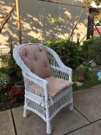 Крісло дерев'яне Woody Стандарт з подушкою садове Білий/Бежевий