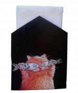 Серветниця Okl Gifts Коти ручний розпис 13x17x5 см Чорний
