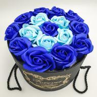 Подарунковий набір Forever з трояндами з мила в шляпній коробці 19х19 см Синій