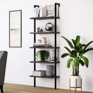 Приставной стеллаж для хранения в стиле LOFT 1830х600х300 дерево/металл Черный (NS-1494)