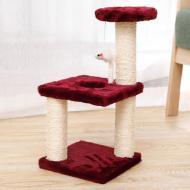 Когтеточка для кота с полками и игрушкой Taotaopets 072204 Burgundy 20x20x40 см