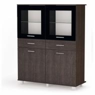 Комод-витрина с ящиками и дверцами Modern Флоренция 8КМ из ДСП и МДФ Венге/Черный