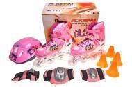 Ролики детские Kepai F1-C1/L со шлемом и защитой 38-41р Розовый