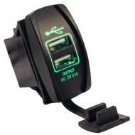 Авто/Мото USB зарядний пристрій Recessed ATV Green IP68 2.1A