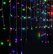 Гірлянда світлодіодна Бахрома 3x0,7 м 120 LED з перехідником Кольорова