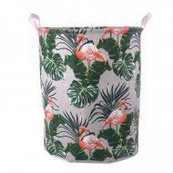 Кошик для білизни Berni Home Flamingos and leaves тканинний з ручками Білий/Зелений (57260)
