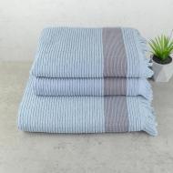 Набор махровых полотенец с бахромой GM Textile 50x90/50x90/70x140 см 3 шт. Голубой