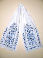 Рушник льняной Галерея льна Добробут 43х215 см Белый с синей вышивкой (82-24/188/359/76)