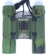 Вологозахищений кишеньковий бінокль з чохлом Bushnell 10x25 Зелений (778858563)