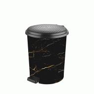 Ведро для мусора с педалью Elif Черный мрамор 11 л (365)