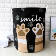 Кошик для білизни Berni Home Little paws тканинний з ручками Чорний (58467)