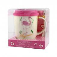 Чашка с силиконовой крышкой и ложкой Flamingo
