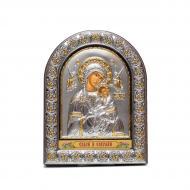 Икона серебряная Страсная Неустанной Помощи Божья Матерь 16,5х21,5 см в арочном киоте под стеклом