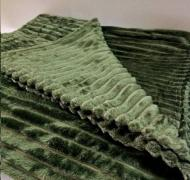 Плед покрывало плюшевое полоска из бамбукового волокна (95793753) Зелёный